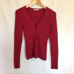 SMART SET festive red sparkly button up cardigan